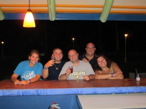 Our first night at the bar in Antigua.