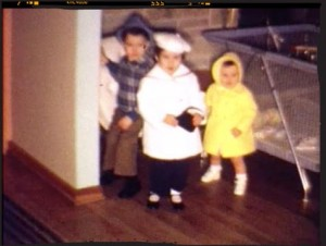 The early days from our home movies — all decked out for Easter.