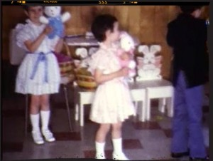 This year my Mom sewn Debbie and me matching dresses.