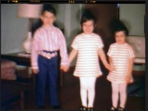 Mom made Debbie and me matching stripped dresses. This must have been a warm Easter.