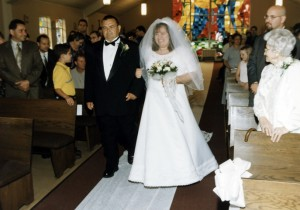 Dad walking me down the aisle, July 7, 2001