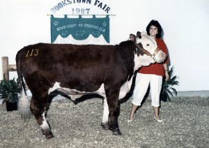 Debbie and her steer, Gus in 1987 at Hookstown Fair.