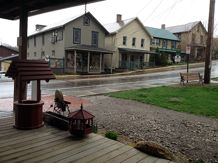 Shops at Volant Mills, PA as seen from porch of the old Grist Mill.
