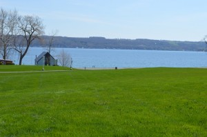 View of the Cayuga Lake from the Sheldrake Point Winery.