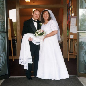 Leaving the church — we were just married on July 7, 2001.