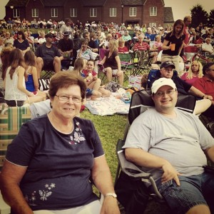 July 3rd concert and fireworks with Mom and Tom.