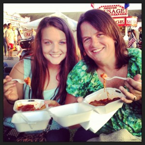 Megan and Debbie with Antone's Fried Cheese (Debbie's #1 for attending the fair!).